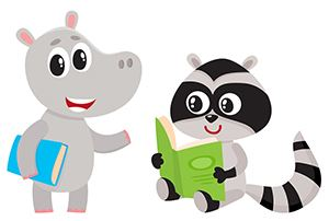 Cartoon animals with books