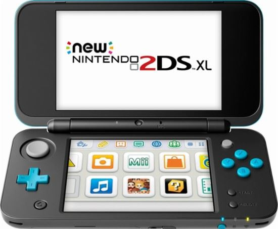 A 2DS XL unfolded and powered on.