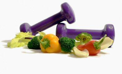 weights and vegetables